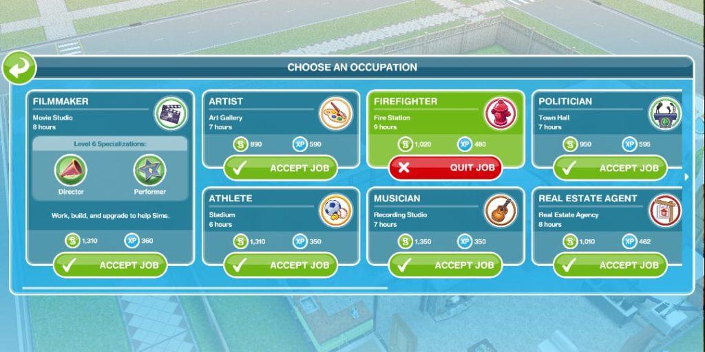 cara mengganti pekerjaan di the sims freeplay