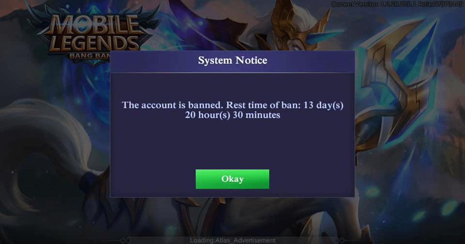 akun banned di mobile legends