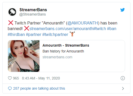 amouranth dibanned dari twitch